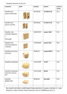Цена на коробки
