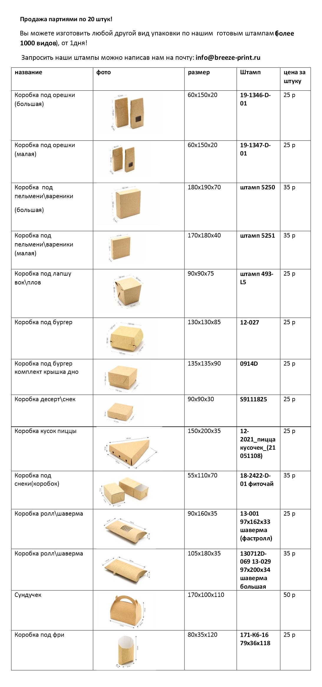 Цены на коробки